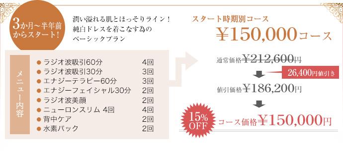 3か月から半年前からスタートの15万円コース